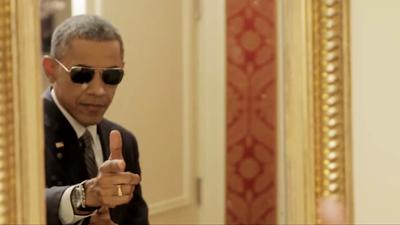 Finger-gun Slinger in Chief Rides Again, Conveys Hopeful Message to America's Kids