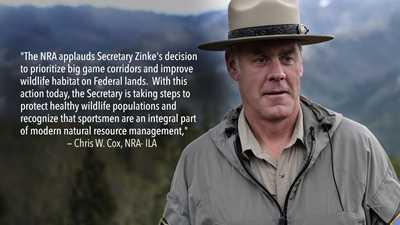 NRA Applauds Sec. Zinke's Move to Conserve Wildlife Populations