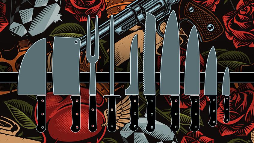 UK Busybodies Target Pointed Kitchen Knives, Gun Tattoos