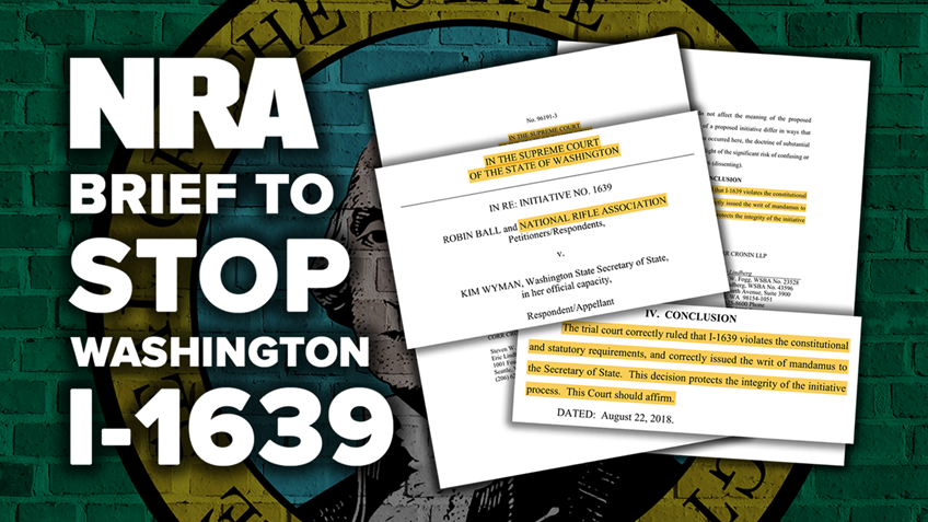Read NRA's Brief on Initiative 1639 to Washington State's Supreme Court