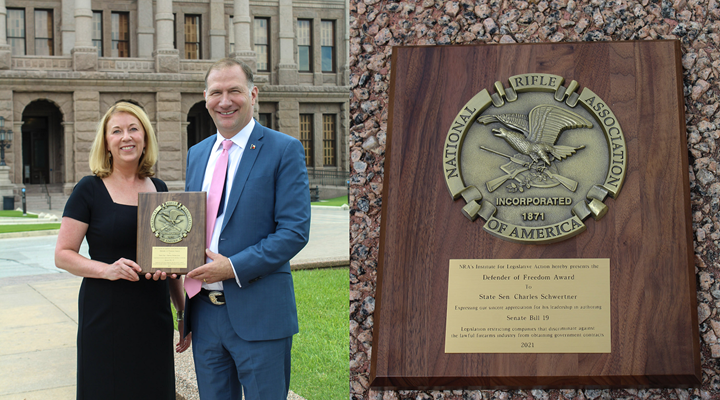 State Sen. Charles Schwertner Presented With NRA's Defender of Freedom Award This Week, As Landmark Pro-Second Amendment Bills Become Law